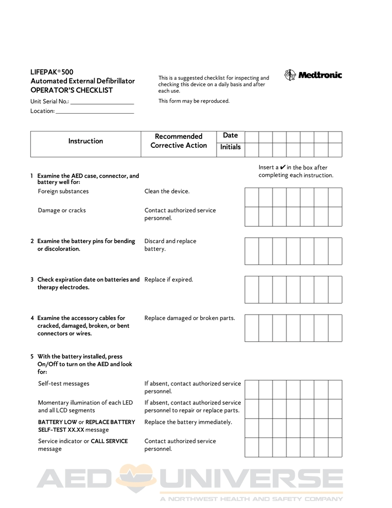 Lifepak 500 Maintenance Checklist | Manualzz
