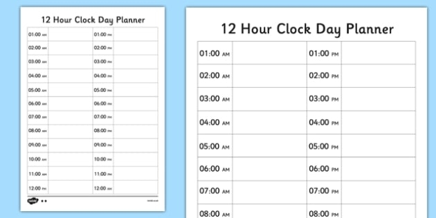 Lower Ability 12 Hour Clock Day Planner (Teacher Made)