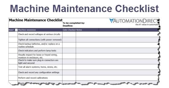 Machine Maintenance Checklist  Library.automationdirect