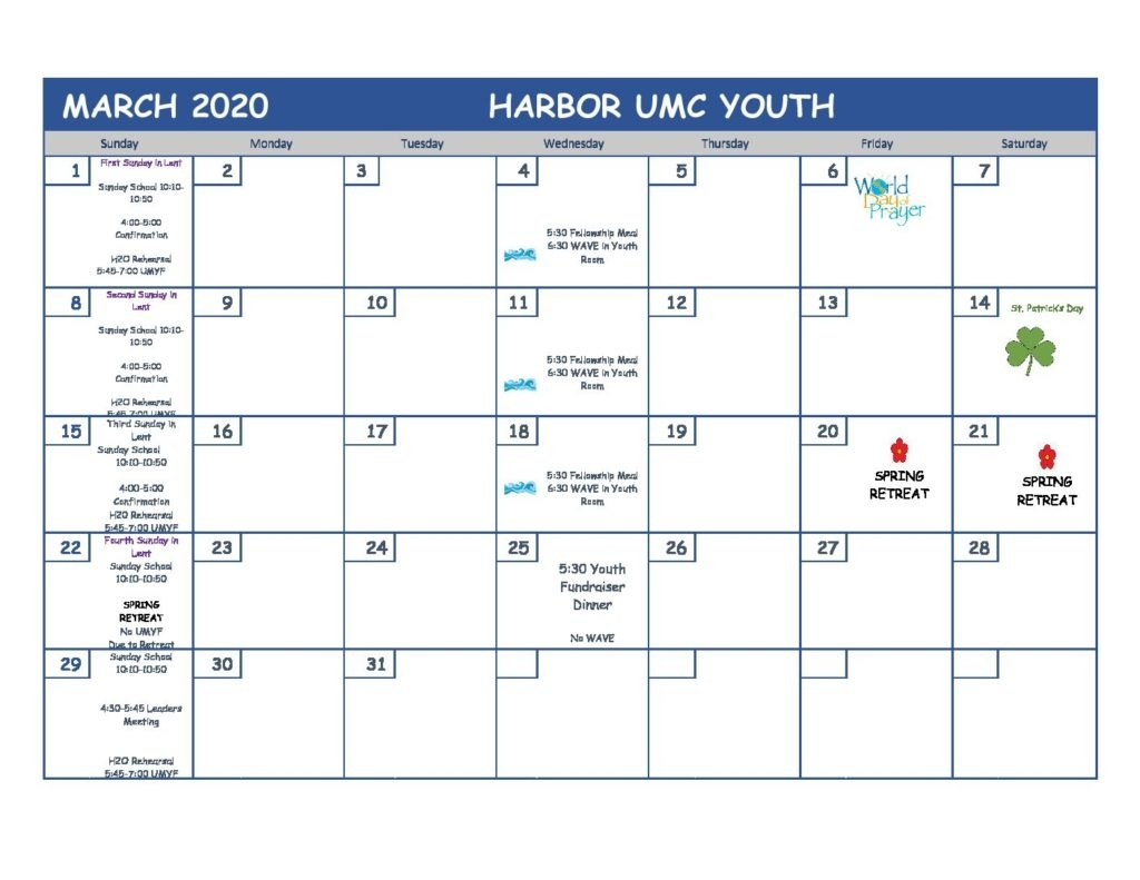 March 2020 Youth Ministry Calendar - Harbor United