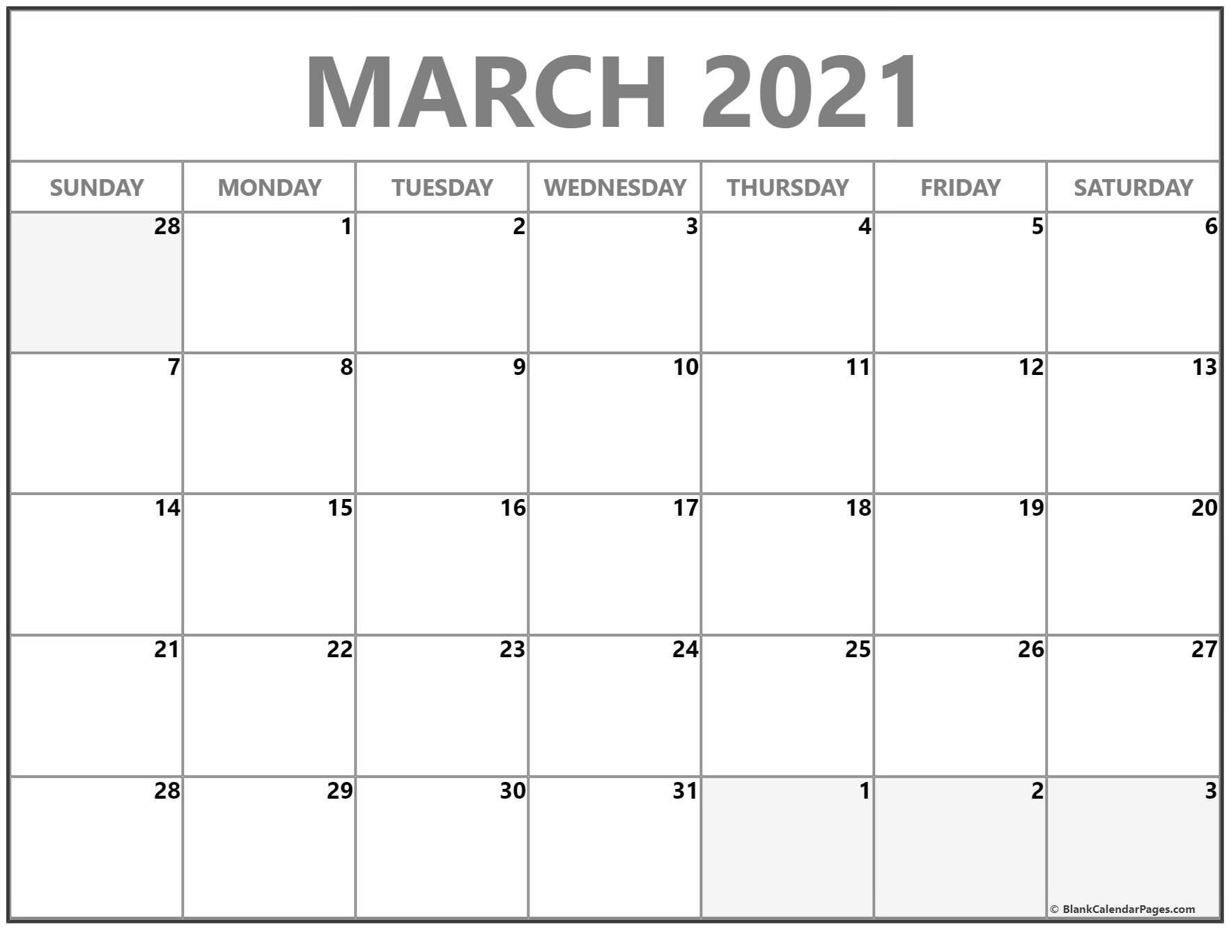 March 2021 Blank Calendar Collection.