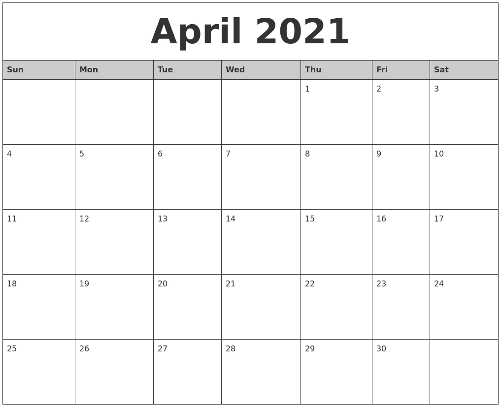 March 2021 Calanders