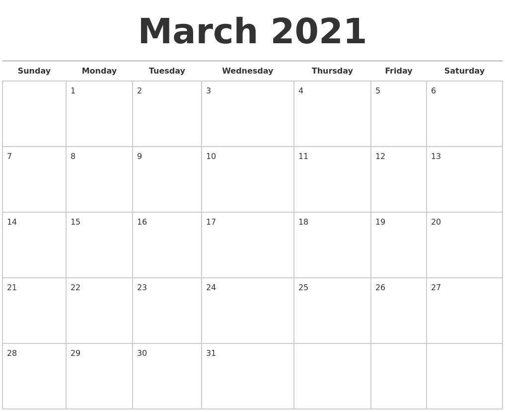 March 2021 Calendars Free