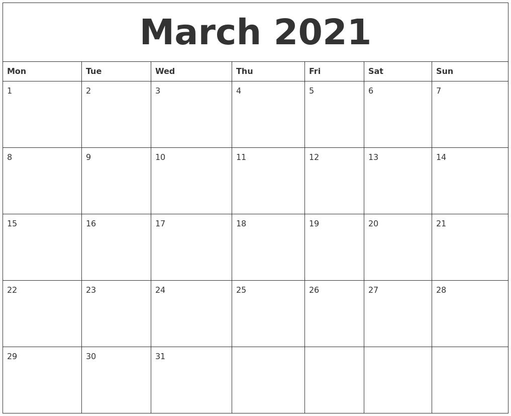 March 2021 Free Blank Calendar