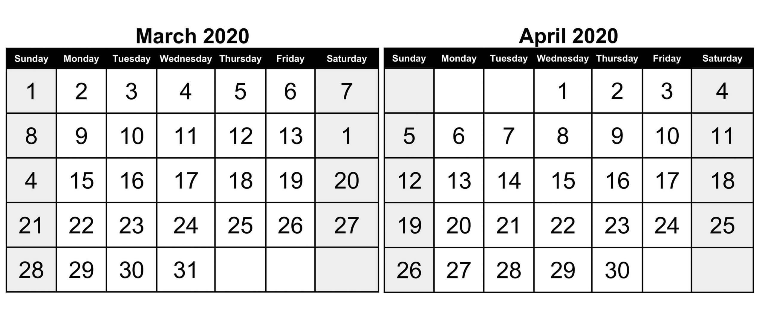 March April 2020 Calendar Pdf With Holidays | Free