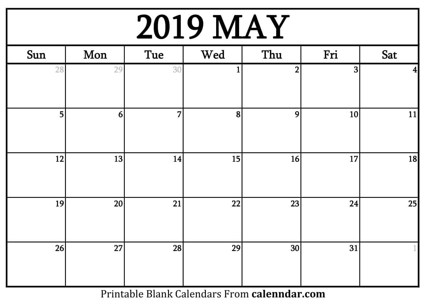 May 2019 Calendar Printable Template Blank Word Pdf Excel