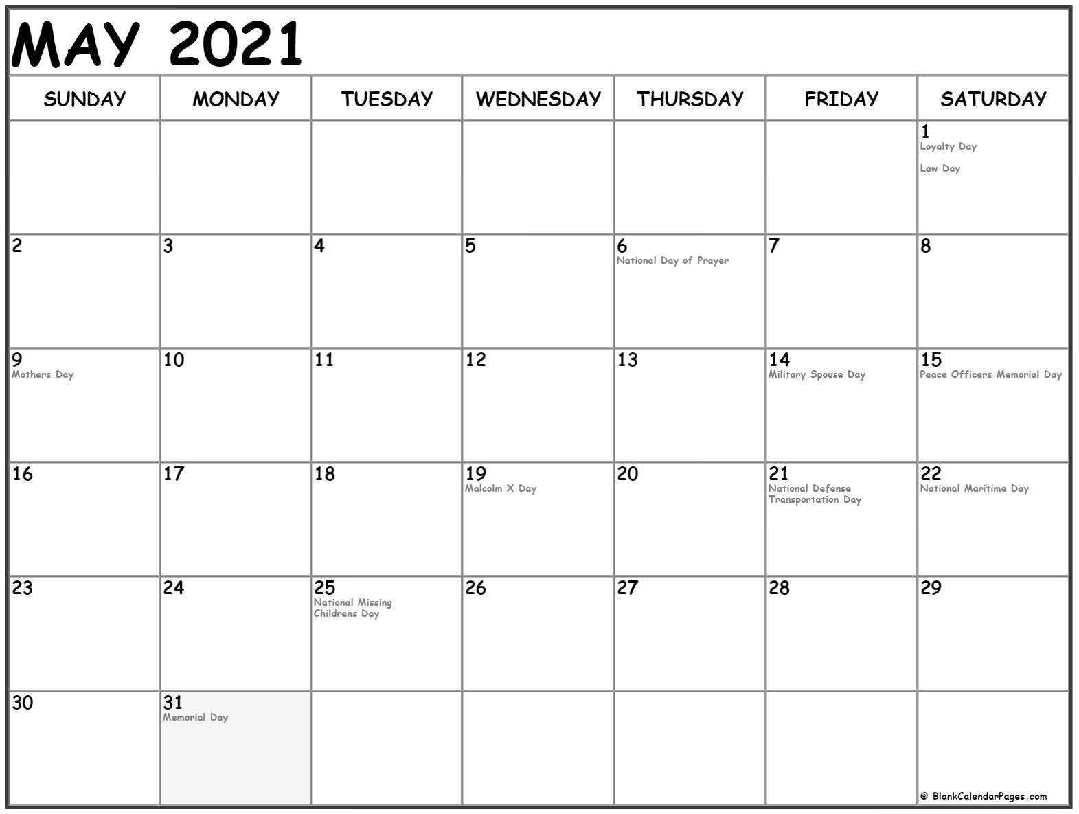 May 2021 Calendar | 51+ Calendar Templates Of 2021 Calendars