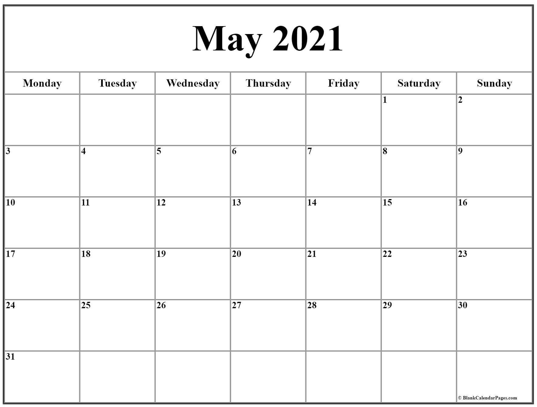 May 2021 Monday Calendar | Monday To Sunday