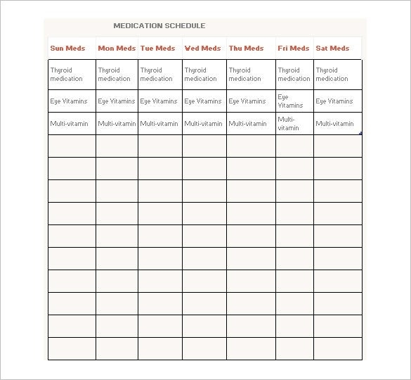 Medication Schedule Template - 14+ Free Word, Excel, Pdf