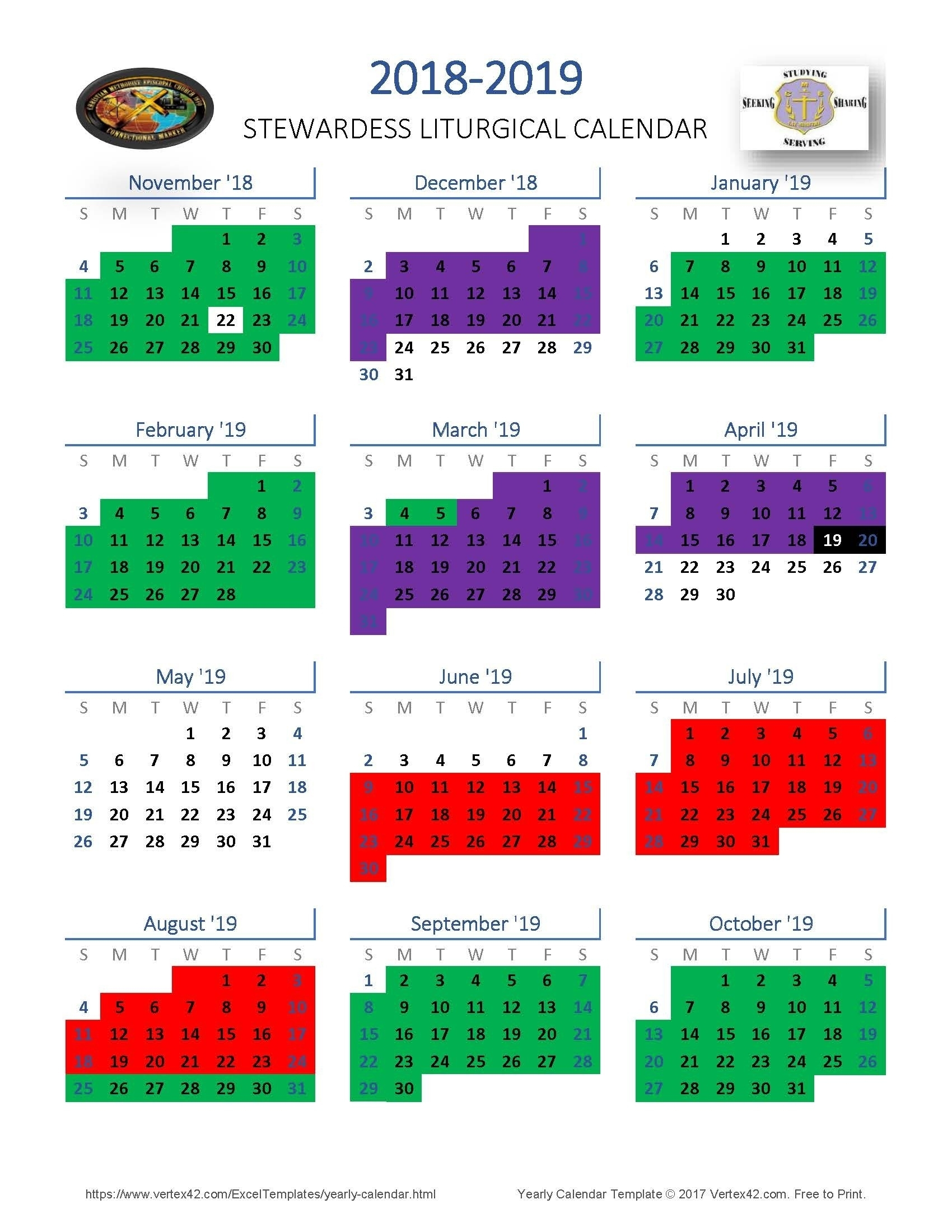 Methodist Church Calendar 2020 – Template Calendar Design