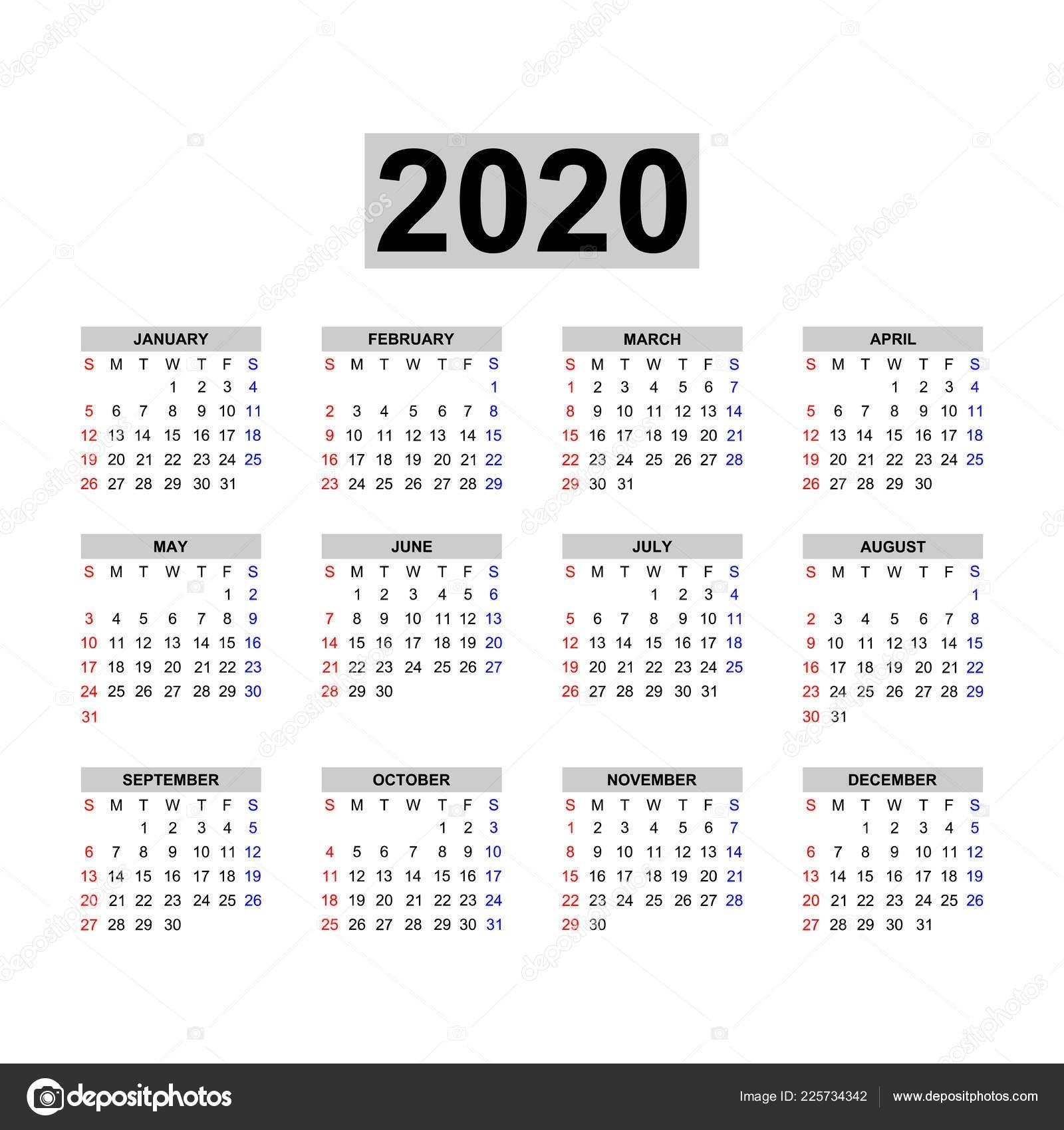 Modelo Calendário 2020 Calendário Design Nas Cores Preto