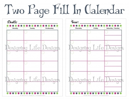 Monthly Calendars To Print And Fill Out | Printable