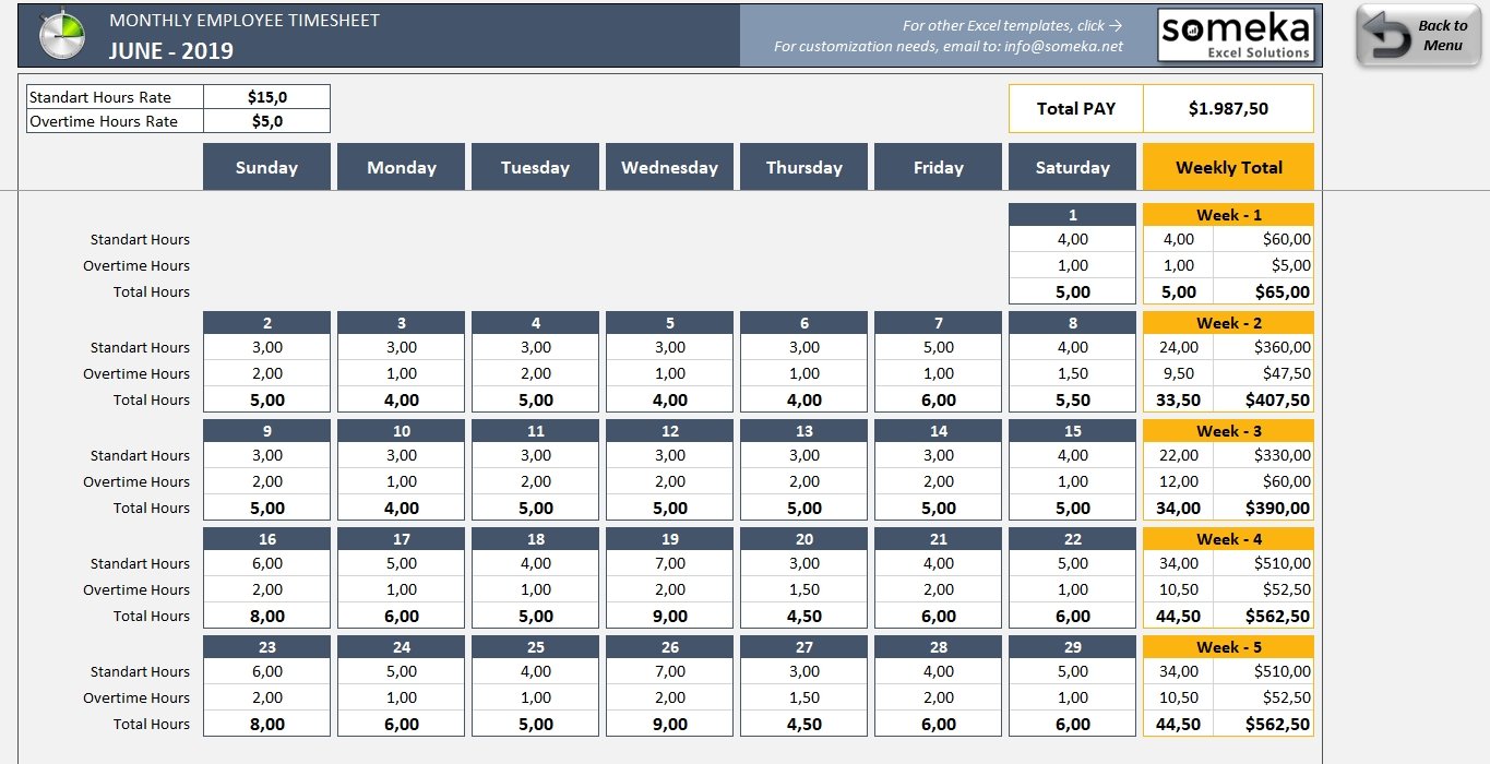 Monthly Employee Timesheet - Free And Printable Excel Template