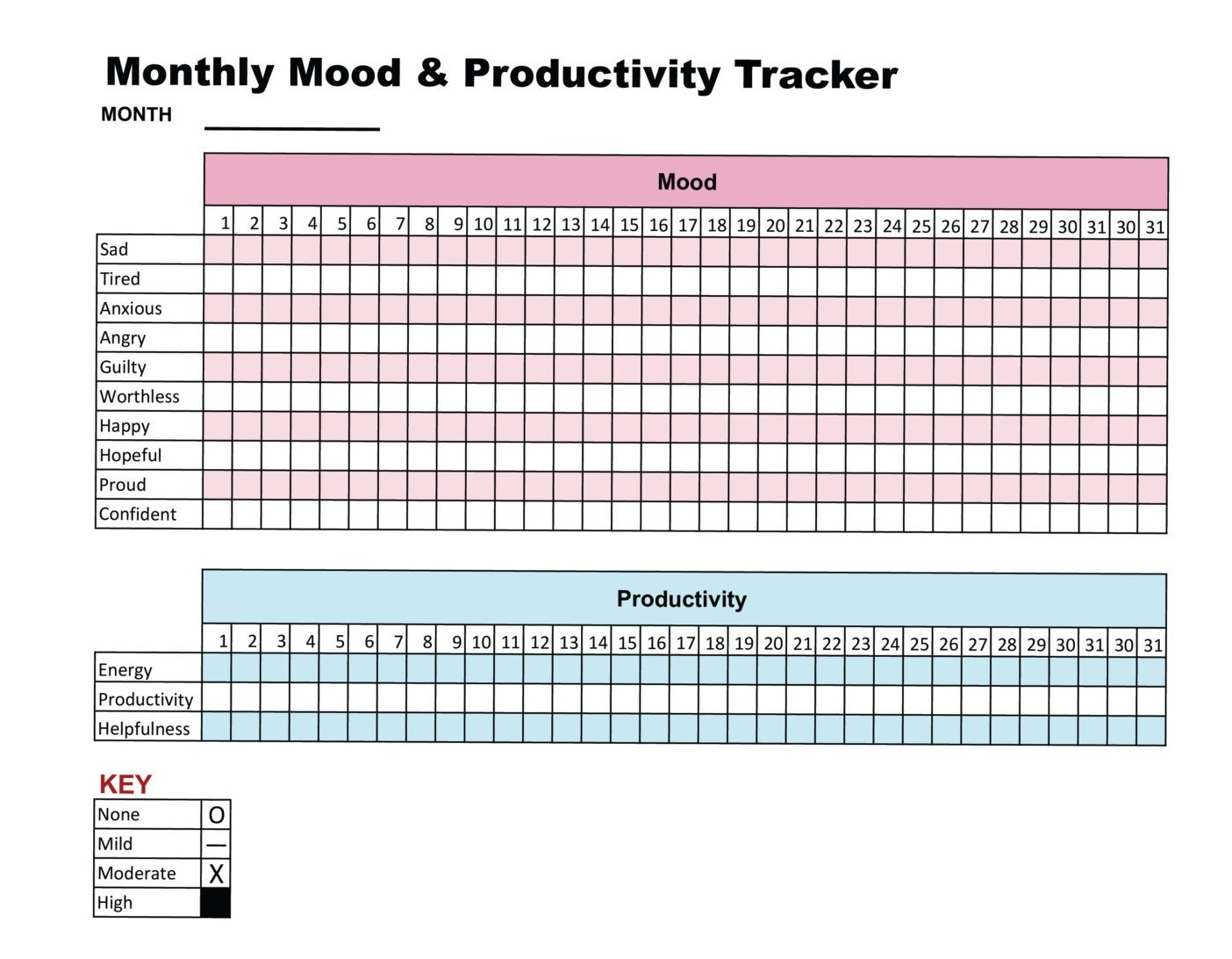 Mood & Productivity Tracker Printable Chart Journal Self Care