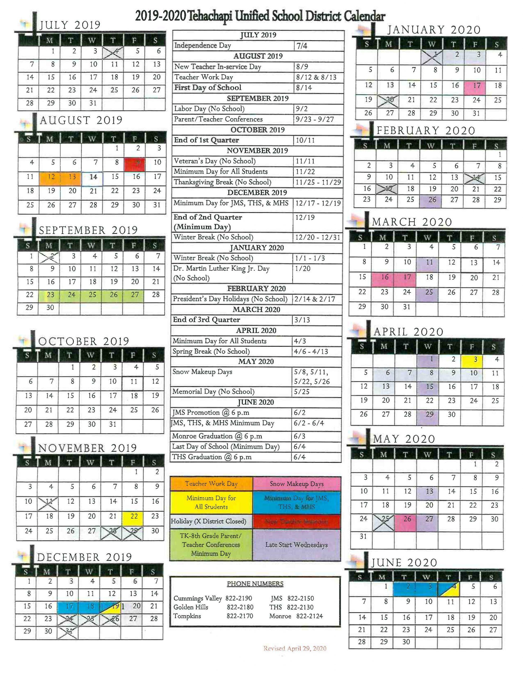 Morgan Hill Unified School Calendar | Printable Calendar