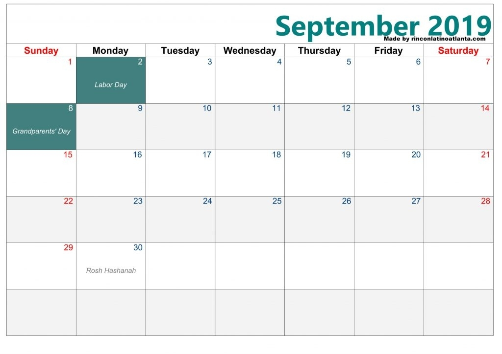 My Blank Calendar September 2019 Best Design Free