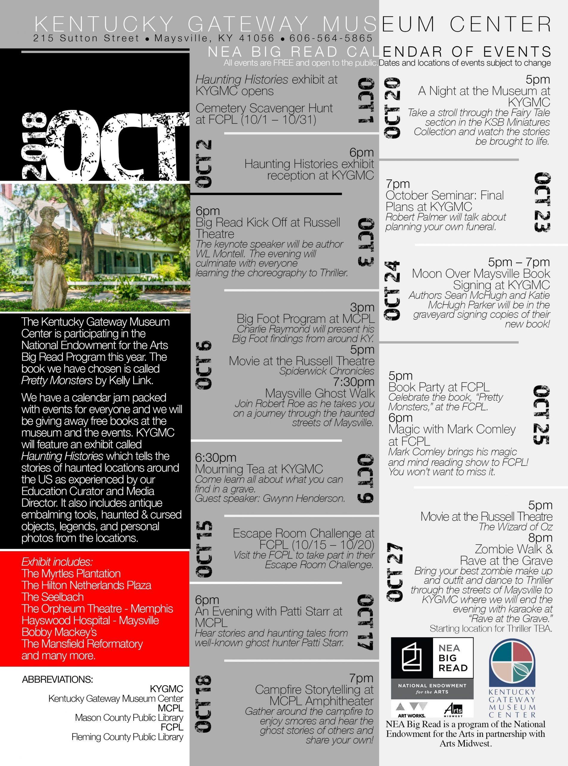 Nea Big Read Calendar For The Kentucky Gateway Museum