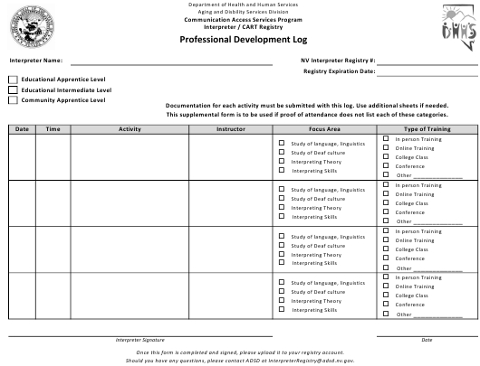 Nevada Professional Development Log Download Fillable Pdf