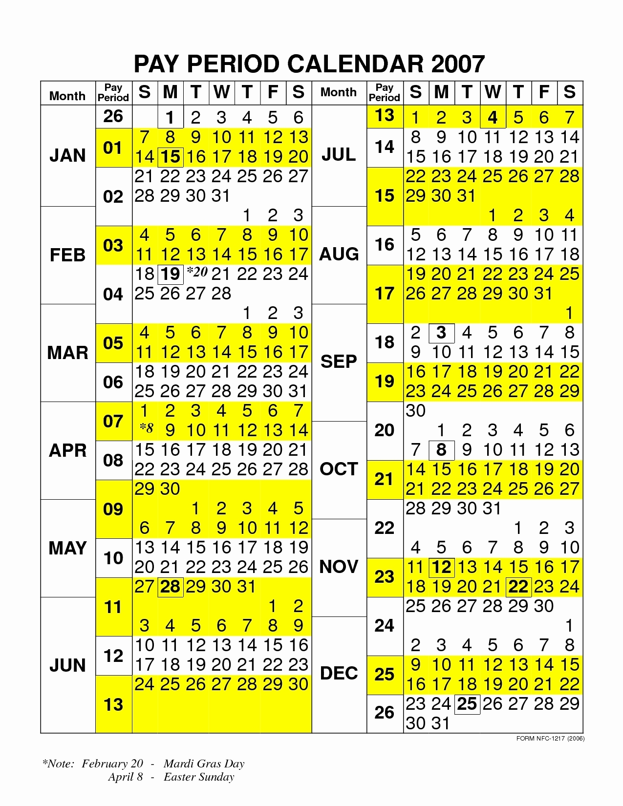 Nfc Payroll Calendar 2020 | Payroll Calendar 2020