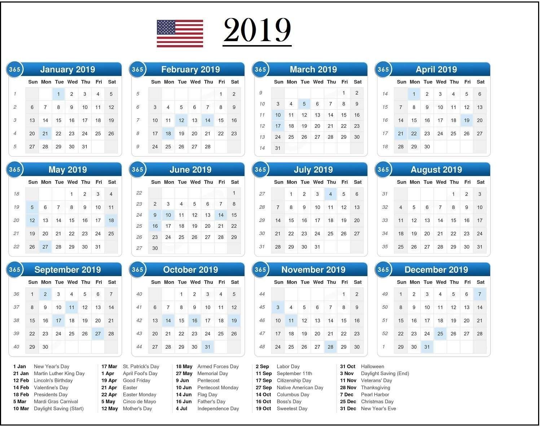 Nice Usa 2019 Calendar With Holidays. | 2019 Calendar