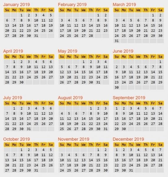 Non Leap Calendar   Printable Calendar Template 2020