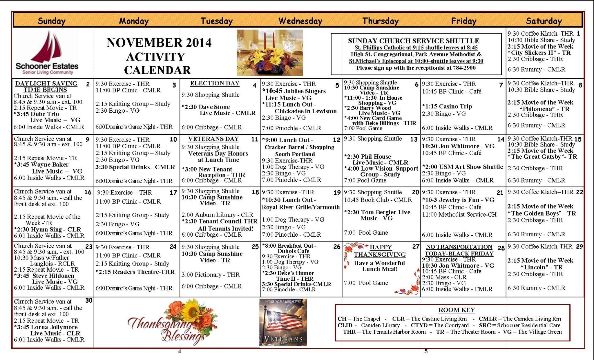 November 2014 Activity Calendars