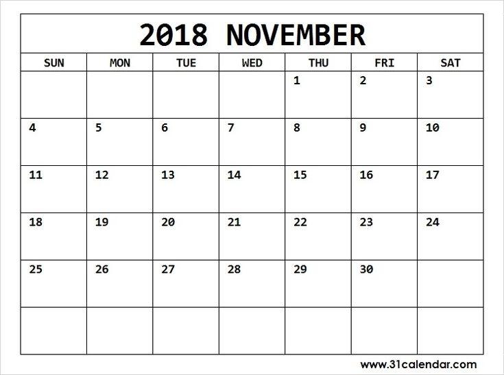 November 2018 Calendar Landscape Editable | 31 Calendar