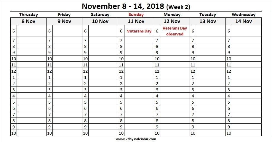 November 2018 Calendar Weekly Work Sheet | Calendar