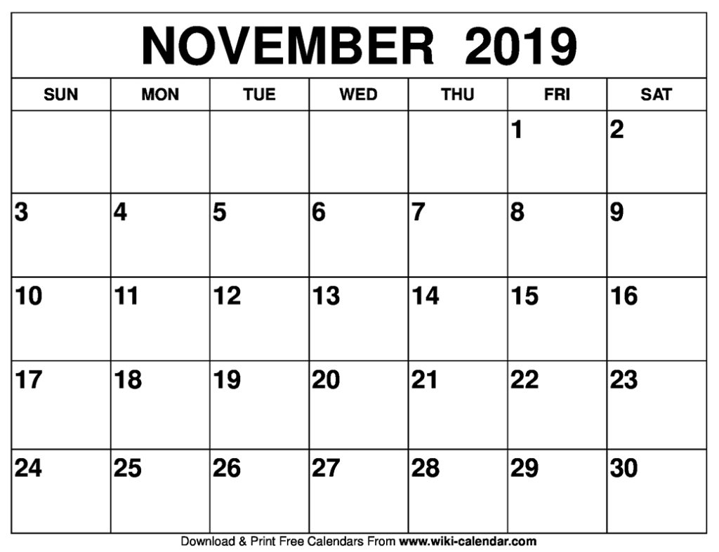 November 2019 Calendar Printable - Create Your Calendar
