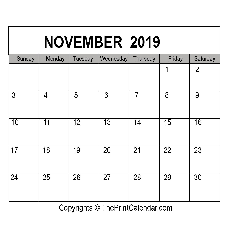 November 2019 Printable Calendar Template [Pdf, Word & Excel]