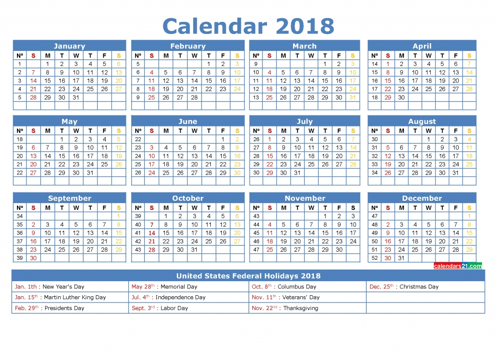 Number Of Weeks In 2018 - Premieredance Calendar Template
