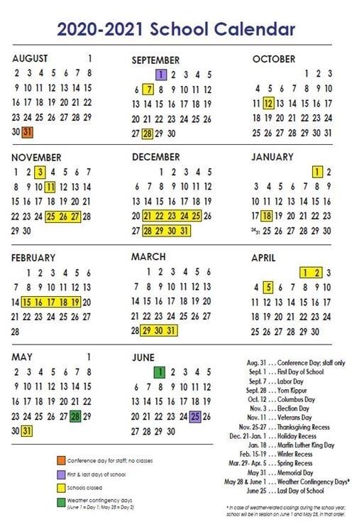 Nyc Doe Calendar 2020-2021