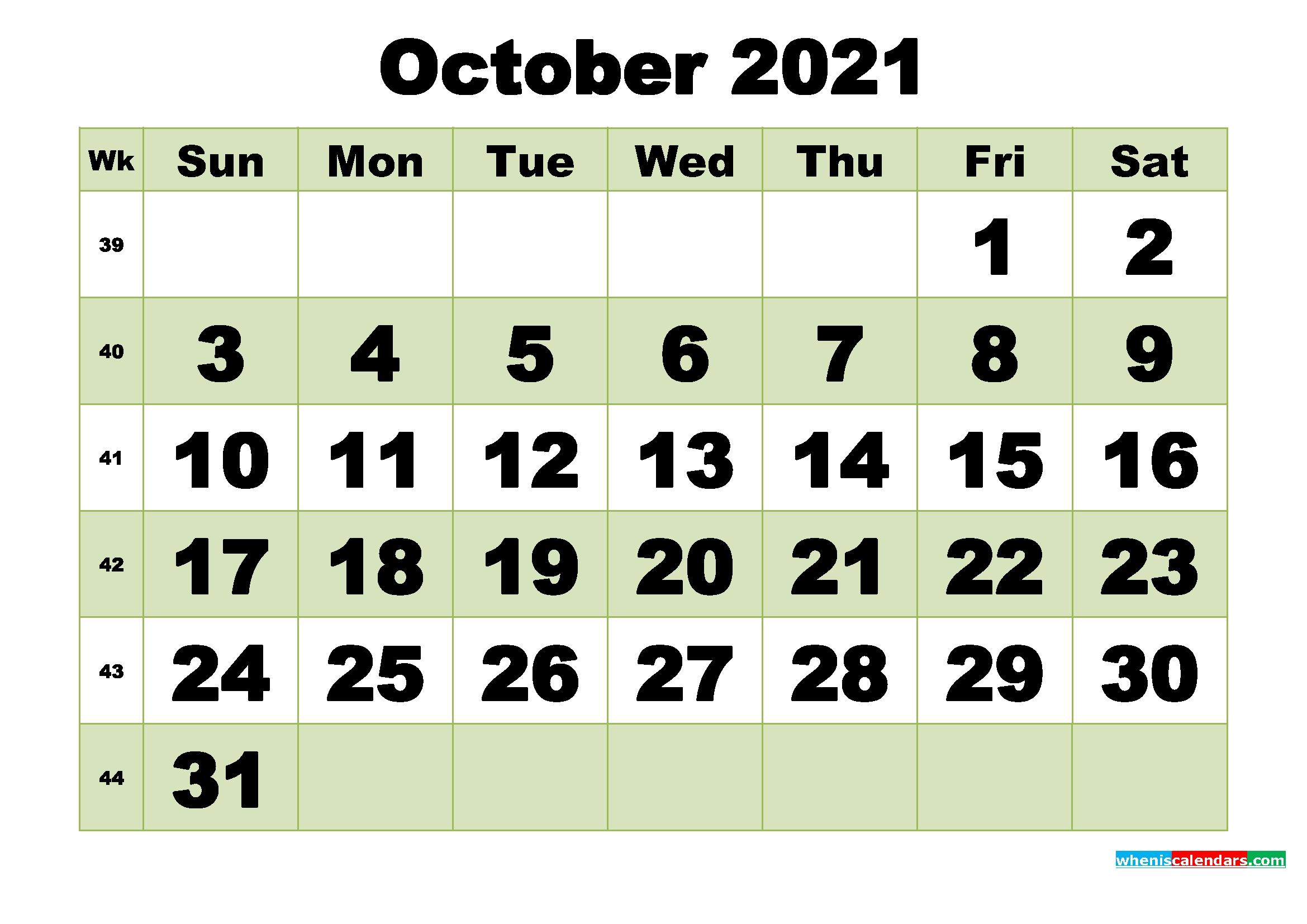 October 2021 Printable Calendar Template – Free Printable