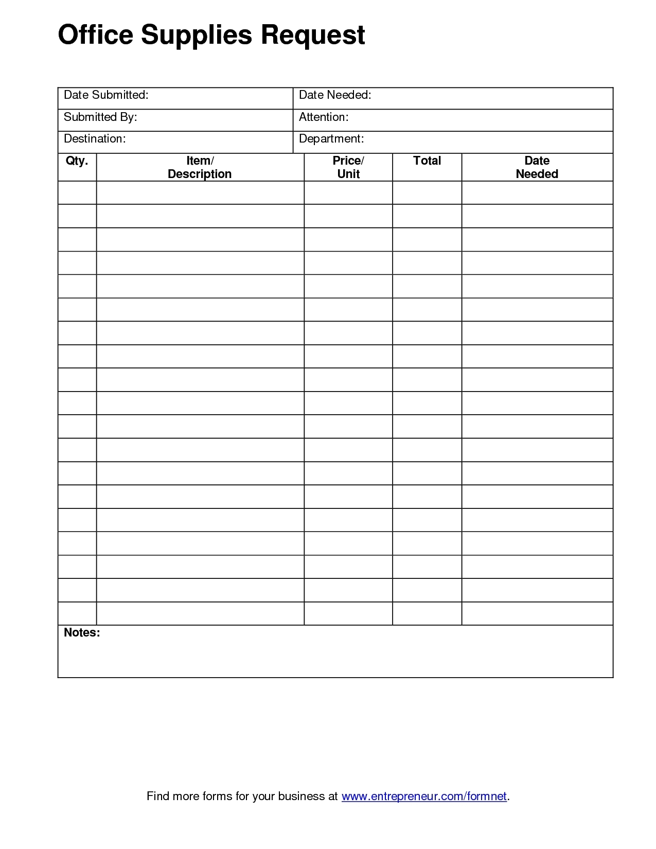 Office Supply Order Form Template | Charlotte Clergy Coalition