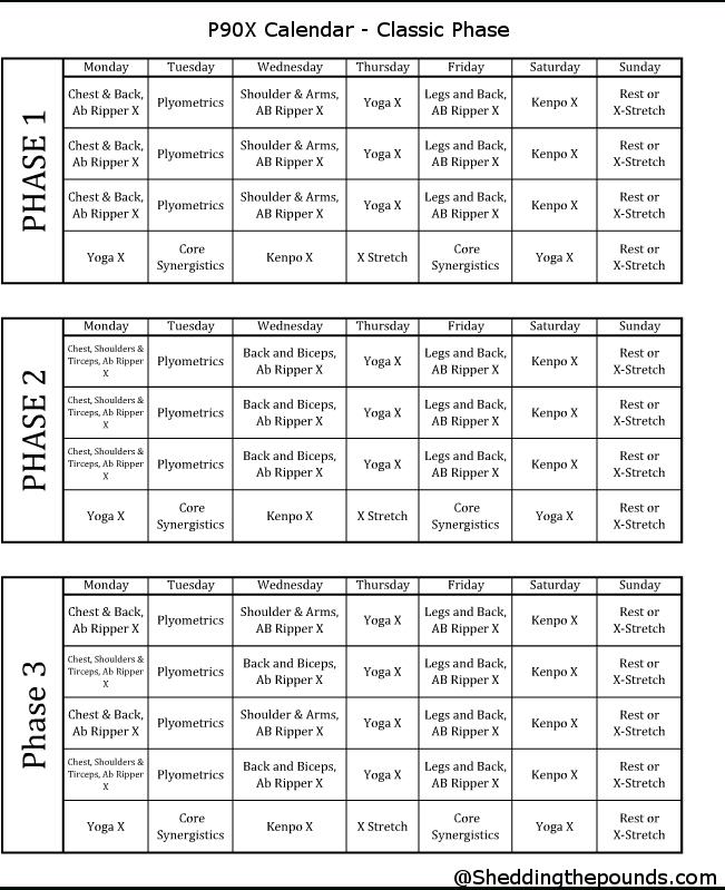 P90X Classic Calendar | P90X Workout Schedule, Lean