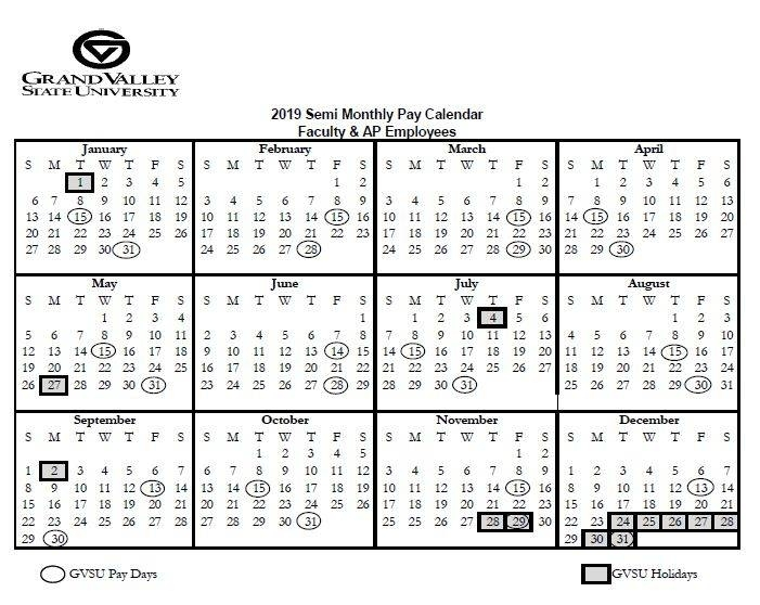 Pay And Holiday Calendars - Payroll Office - Grand Valley