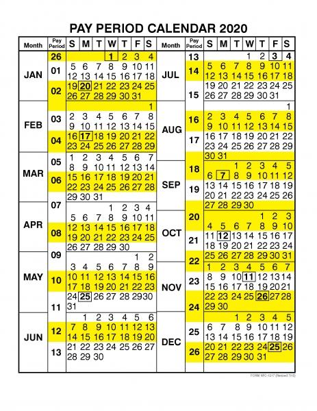 Pay Period Calendar 2020  Calendar Year – Free Printable