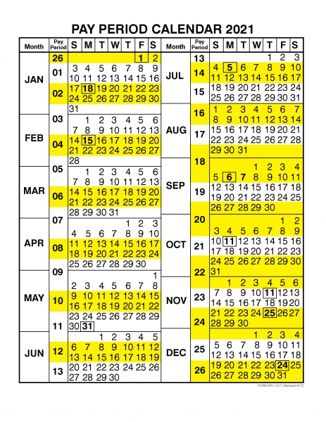 Pay Period Calendar 2021  Calendar Year – Free Printable