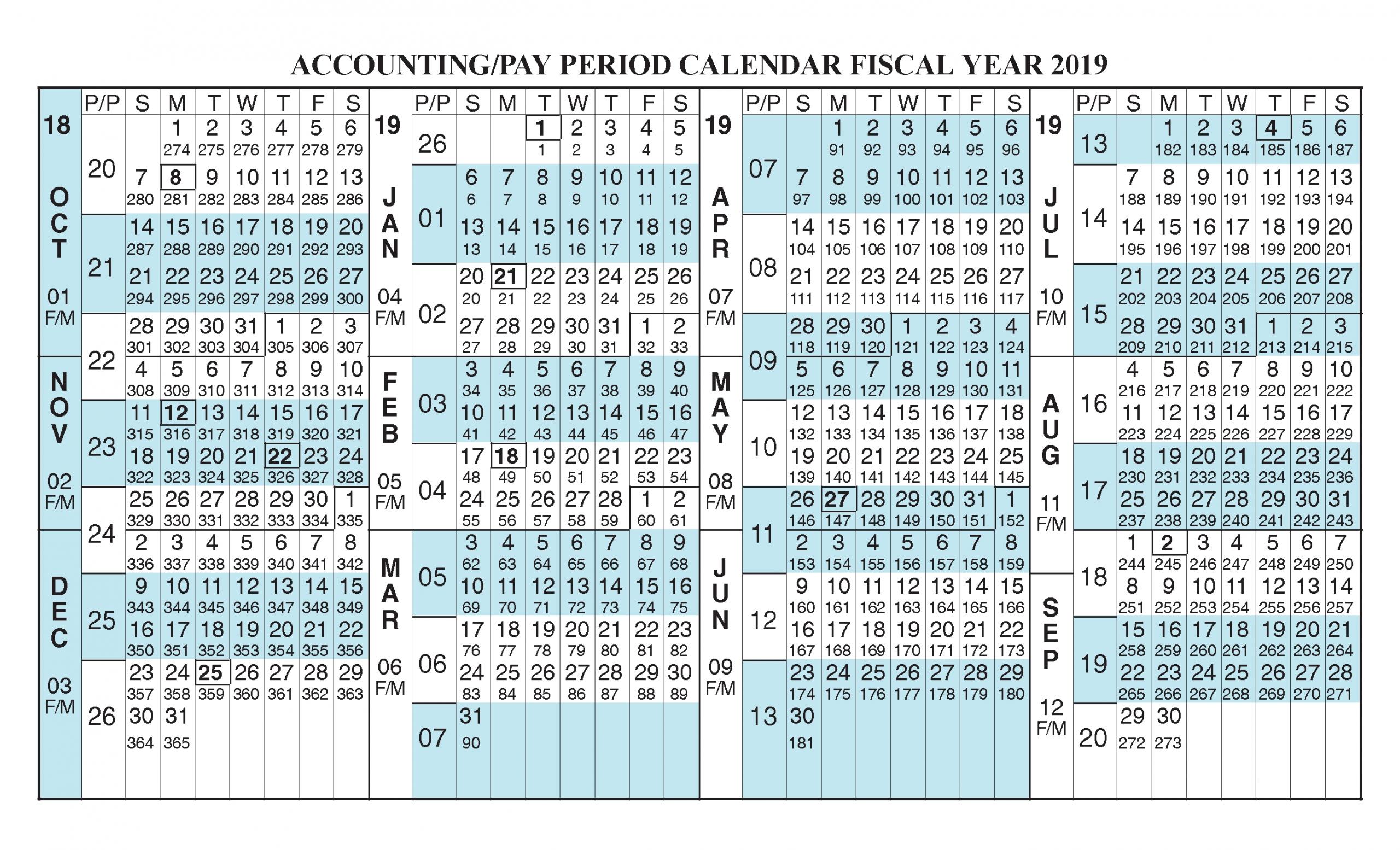 Payroll Calendar 2019 Fiscal Year Calendar [ Oct 2018