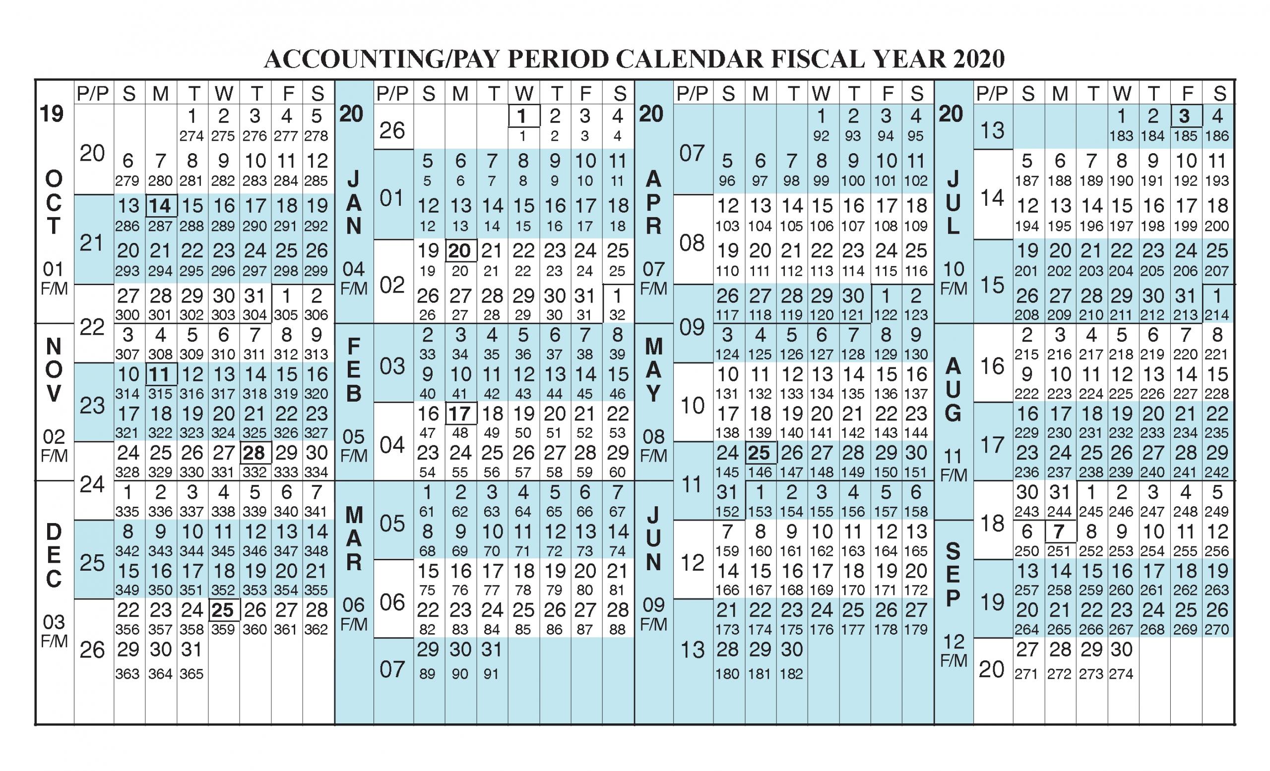 Payroll Calendar 2020 Fiscal Year Calendar [ Oct 2019