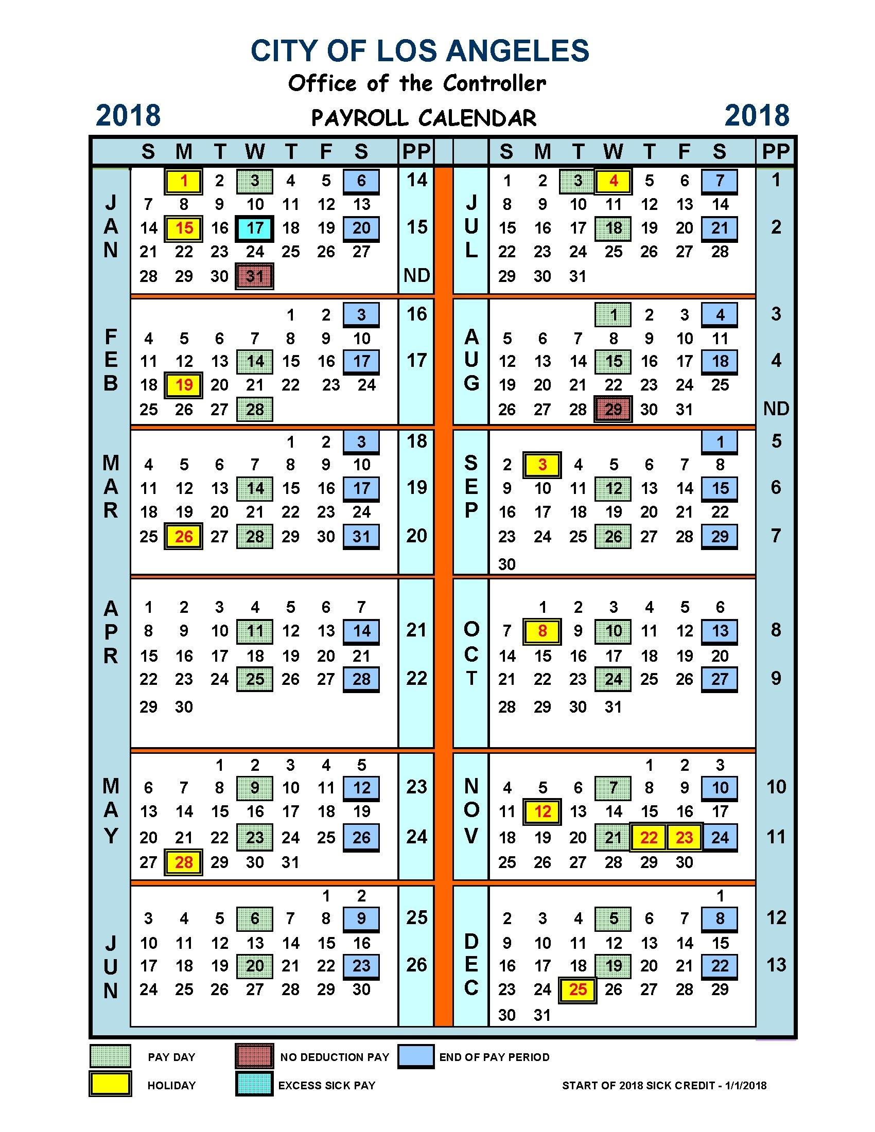 Payroll Calendar City Of Los Angeles | Payroll Calendar 2020