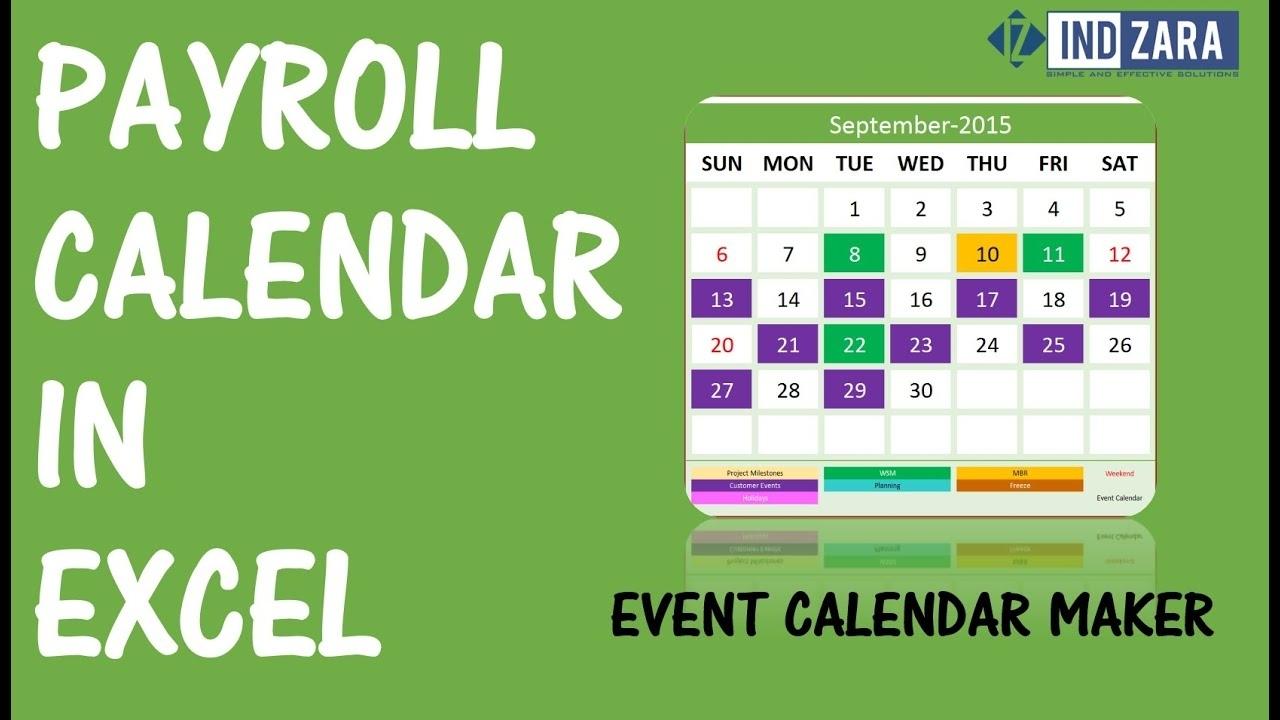 Payroll Calendar Excel | Payroll Calendar 2021