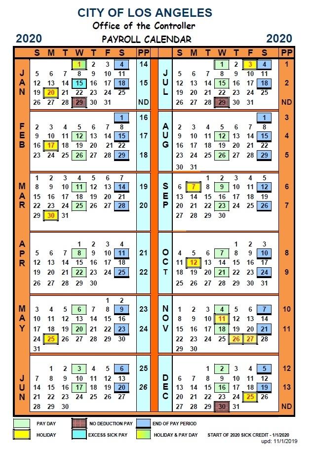 Payroll Calendar – Los Angeles City Controller Ron Galperin