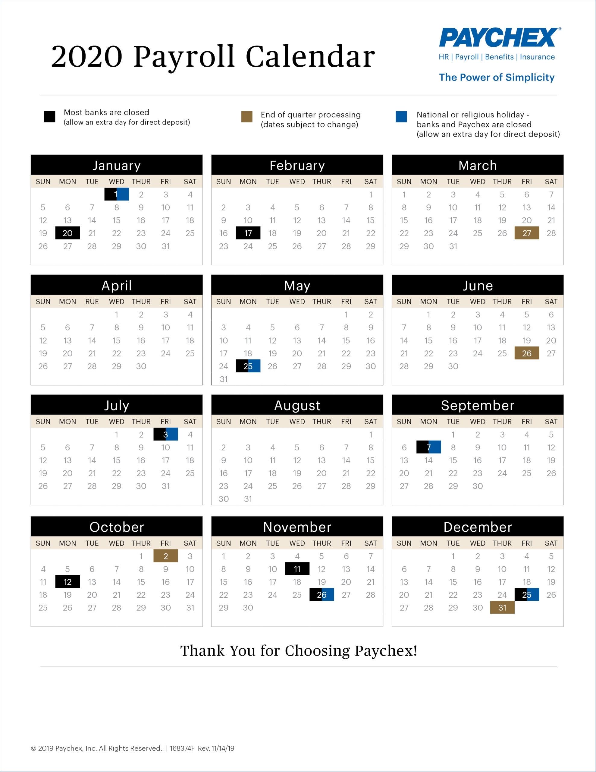 Payroll Calendar Paychex – Payroll Calendar 2021