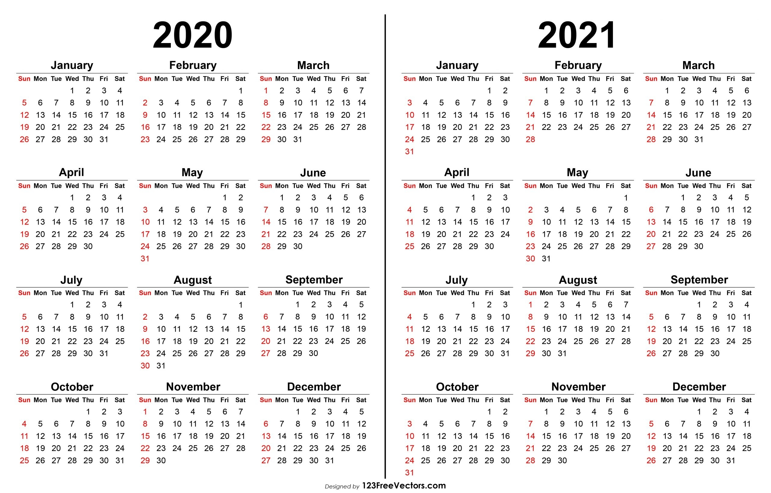 Pick 2 Year Calendar Template 2020 2021 | Calendar