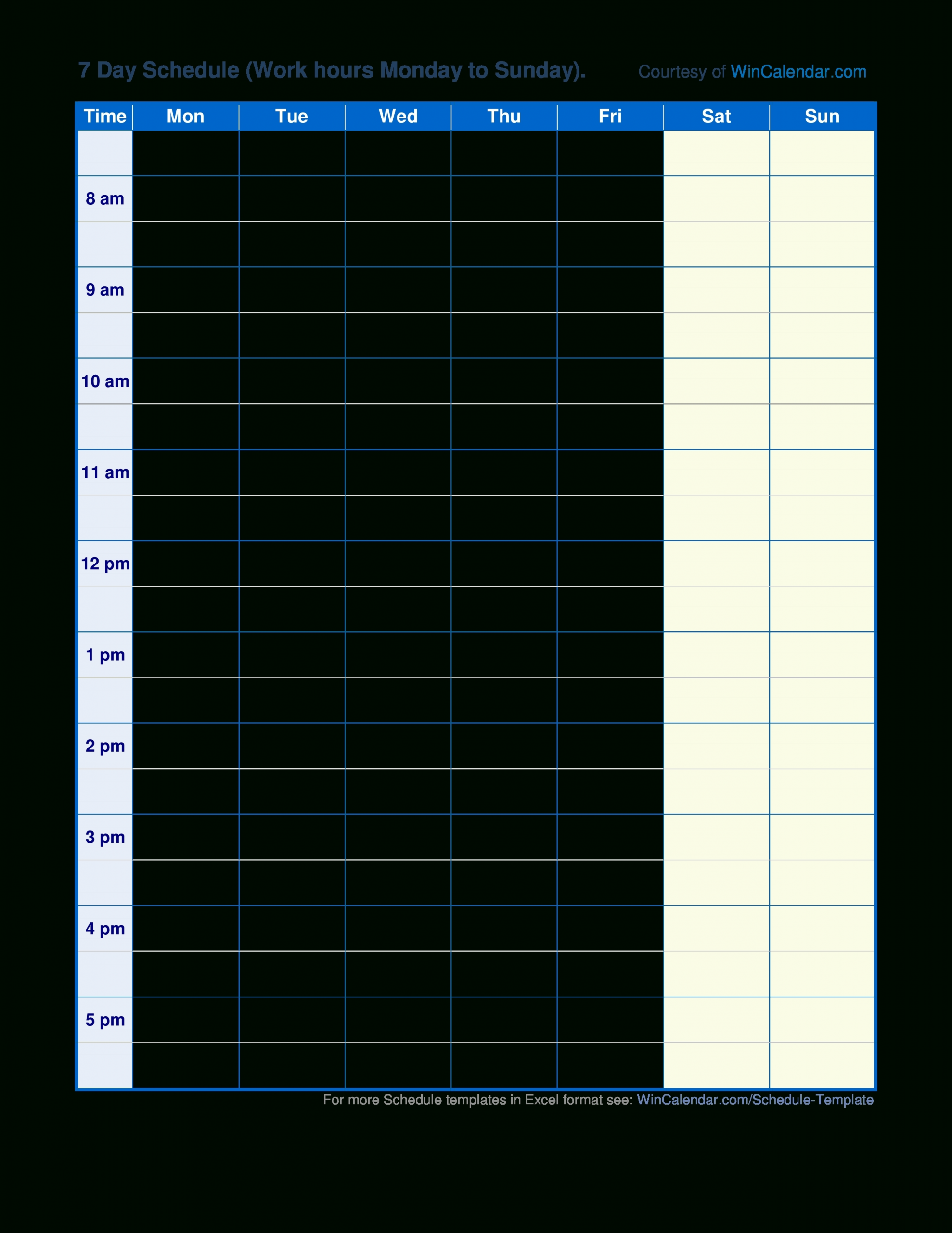 Pick Blank Weekly Am/Pm Schedule Template ⋆ The Best