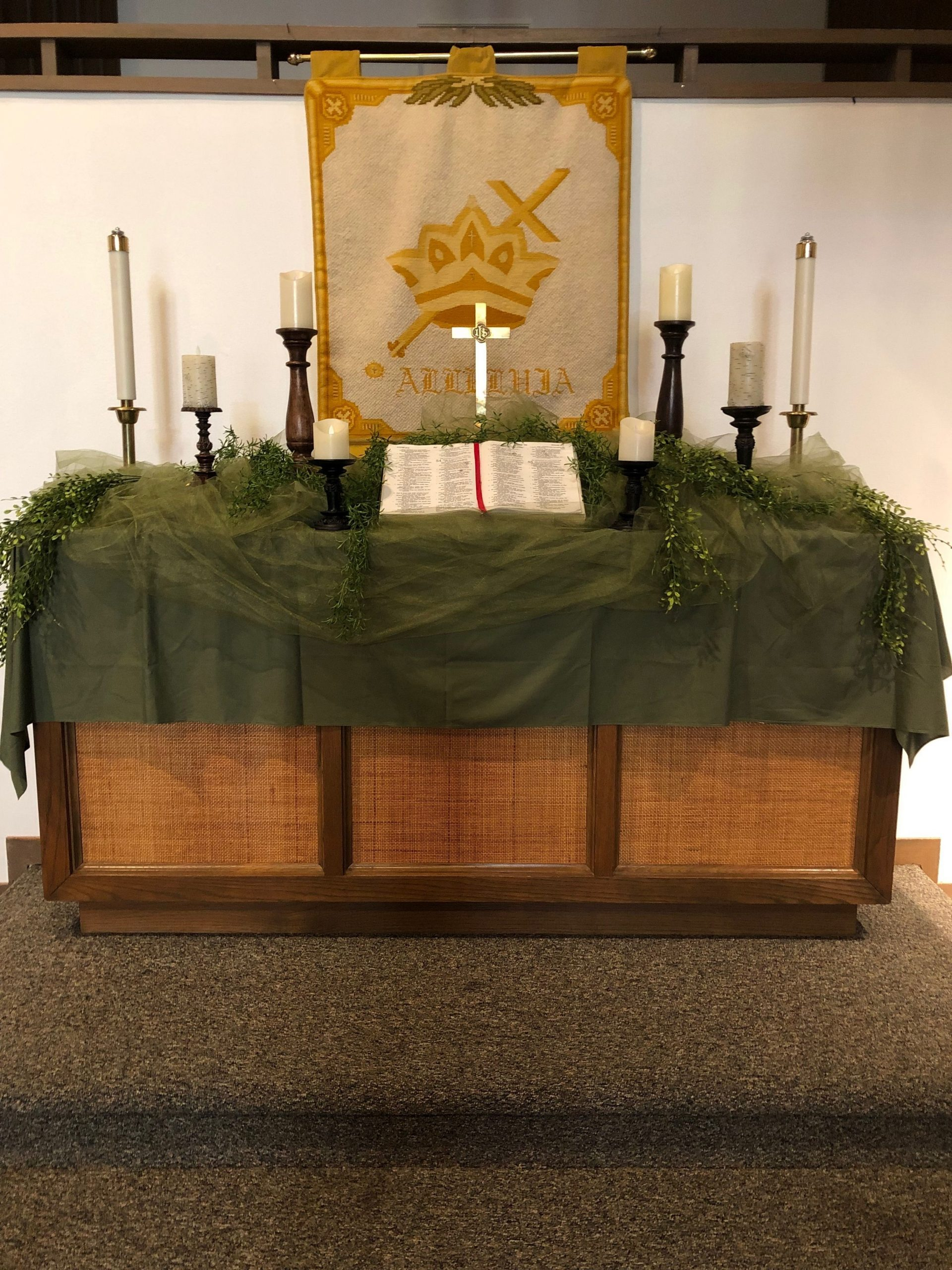 Pin By Ruth Sharp On Umc Altars | Green, Greenery, Altar