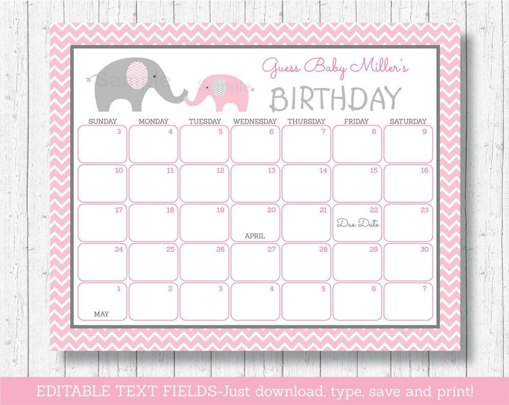 Pink Chevron Elephant Printable Baby Due Date Calendar