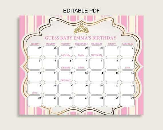 Pink Gold Guess Baby Due Date Calendar Game Printable