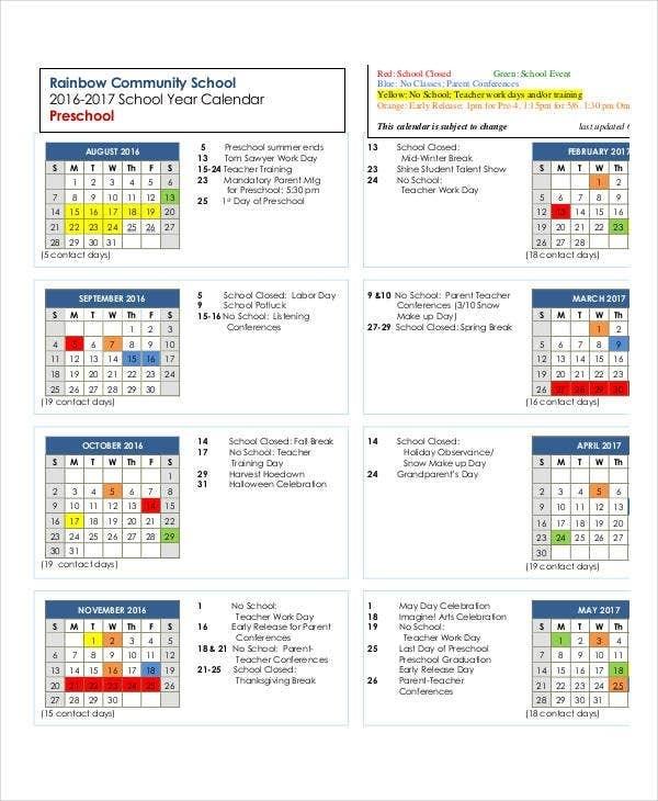 Preschool Calendar Template - 10+ Free Pdf, Word Format